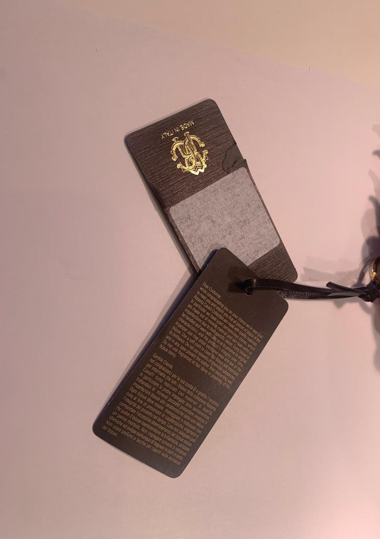 Roberto Cavalli Pink and Gold Leather Key Holder, Fob, or Purse Charm For Sale 4