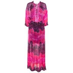 Roberto Cavalli Pink Printed Chiffon Embellished Neckline Detail Maxi Dress S