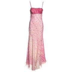Roberto Cavalli pink silk and snakeskin evening maxi dress, ss 1999