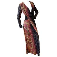 Roberto Cavalli Plunging Vintage Reptile Print Evening Dress