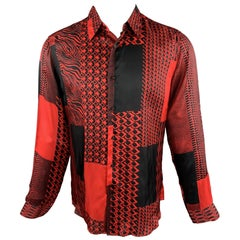 ROBERTO CAVALLI Pre-Fall 2018 Size S Red & Black Print Viscose Button Up Shirt