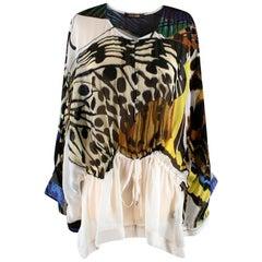 Roberto Cavalli Printed Long-Sleeved Silk Blouse L 46