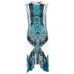 Roberto Cavalli Printed Ruffle Hem Fitted Dress US 4