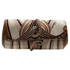 Roberto Cavalli Printed Satin Snake Roll Clutch Bag Handbag