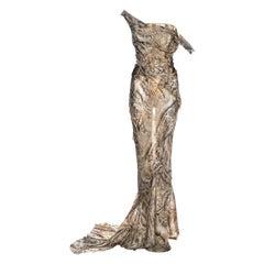 Roberto Cavalli printed silk corseted trained evening dress, fw 2001