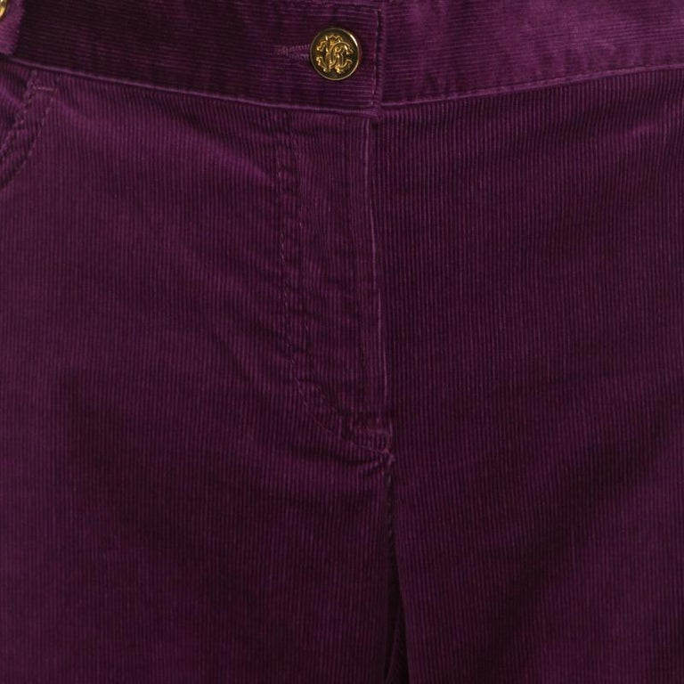 Women's Roberto Cavalli Purple Corduroy Buckled Back Pocket Detail Boot Cut Pants M For Sale