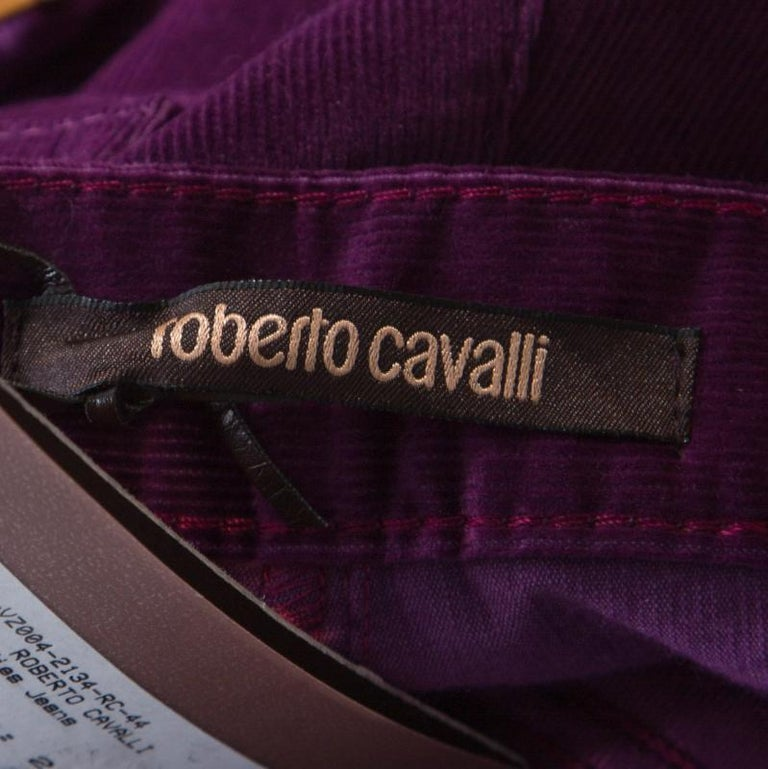 Roberto Cavalli Purple Corduroy Buckled Back Pocket Detail Boot Cut Pants M For Sale 3