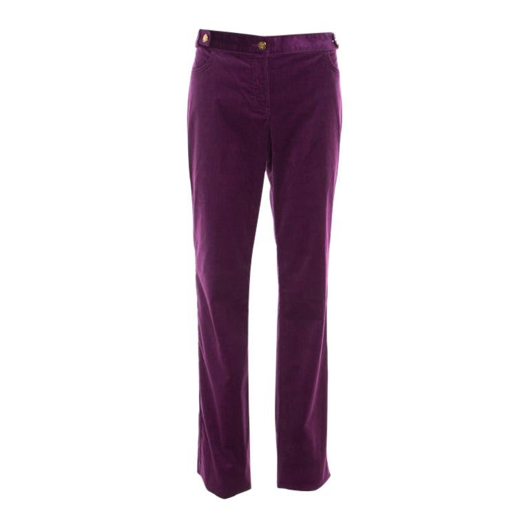Roberto Cavalli Purple Corduroy Buckled Back Pocket Detail Boot Cut Pants M For Sale