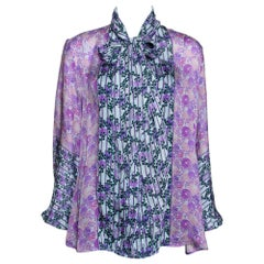 Roberto Cavalli Purple Floral Print Silk Sheer Blouse L