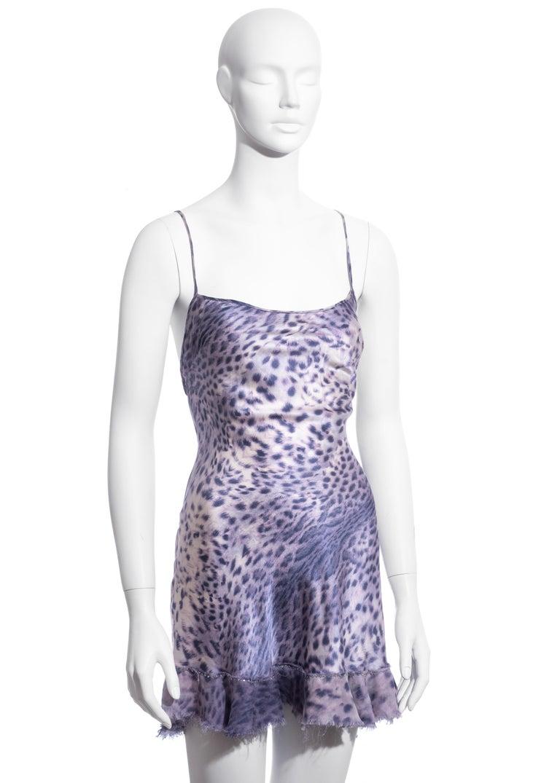 Gray Roberto Cavalli purple leopard print silk mini dress, ss 1999