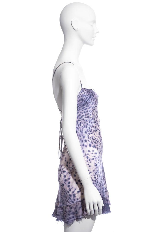 Roberto Cavalli purple leopard print silk mini dress, ss 1999 In Excellent Condition In London, GB