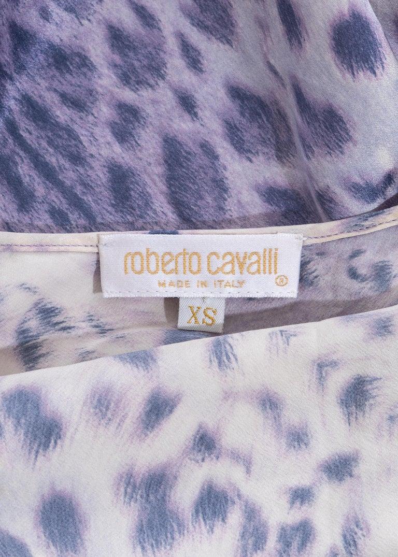Roberto Cavalli purple leopard print silk mini dress, ss 1999 2