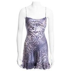 Roberto Cavalli purple leopard print silk mini dress, ss 1999