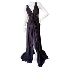 Roberto Cavalli Purple Silk Sexy Back Vintage Evening Dress w Ombre Sequin Waist