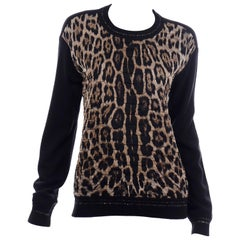 Roberto Cavalli Quilted Silk and Wool Knit Leopard Print Sweater Top