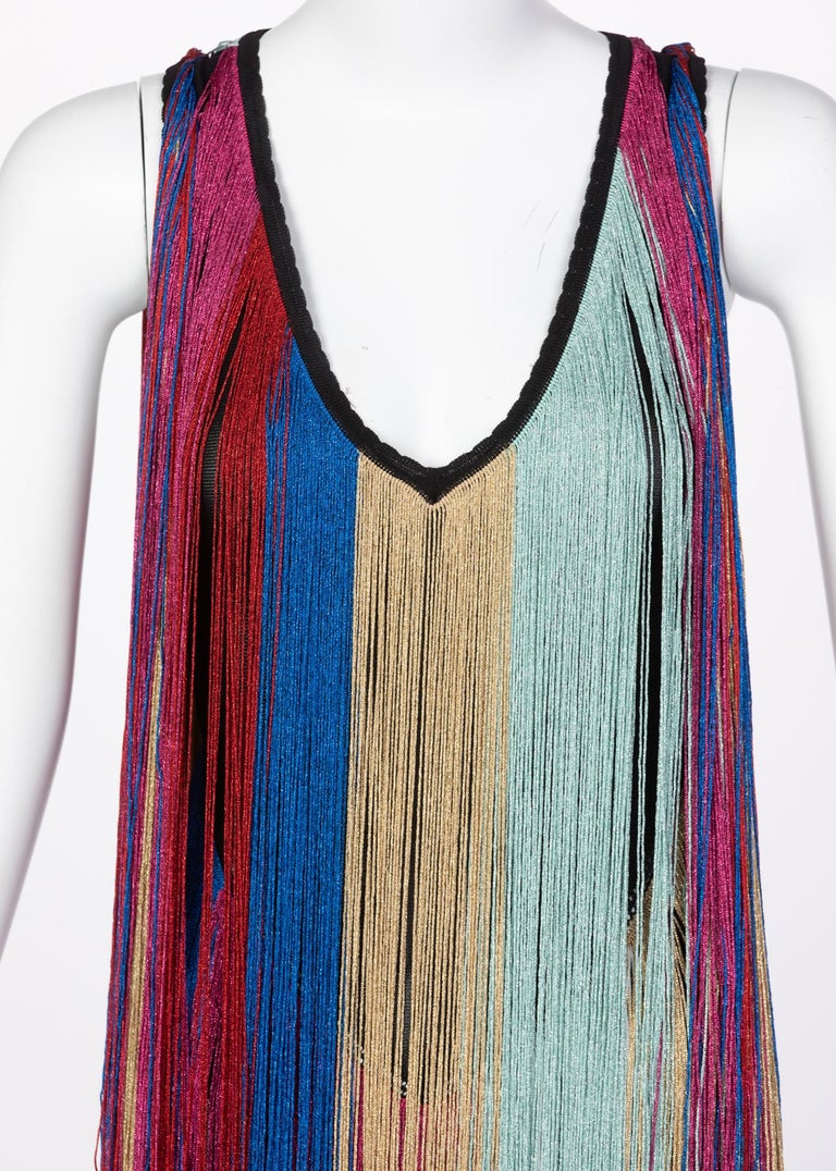 Roberto Cavalli Rainbow Fringe Maxi Dress, Resort 2017 For Sale 5
