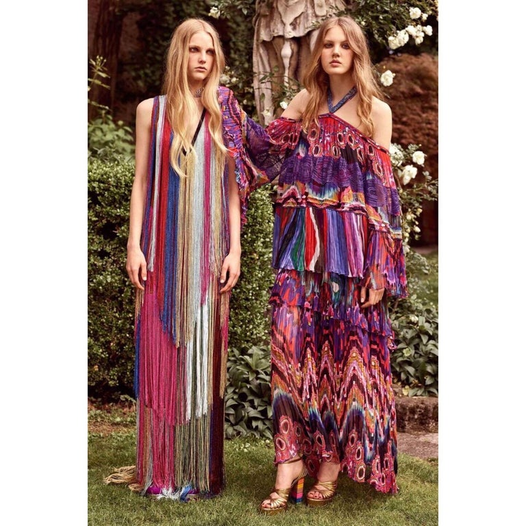 Roberto Cavalli Rainbow Fringe Maxi Dress, Resort 2017 For Sale 7