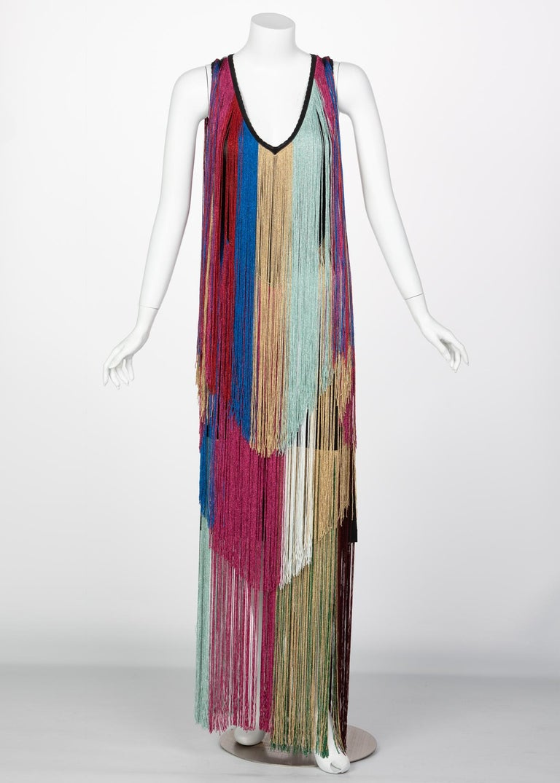 Gray Roberto Cavalli Rainbow Fringe Maxi Dress, Resort 2017 For Sale