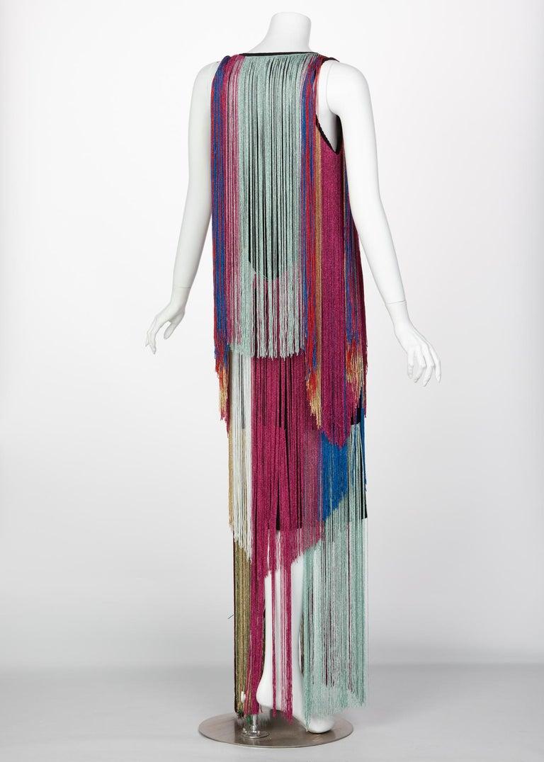 Roberto Cavalli Rainbow Fringe Maxi Dress, Resort 2017 In Excellent Condition For Sale In Boca Raton, FL