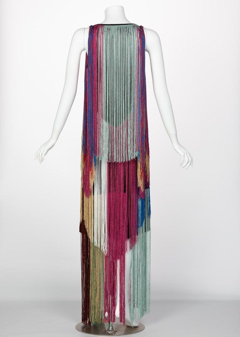 Women's Roberto Cavalli Rainbow Fringe Maxi Dress, Resort 2017 For Sale