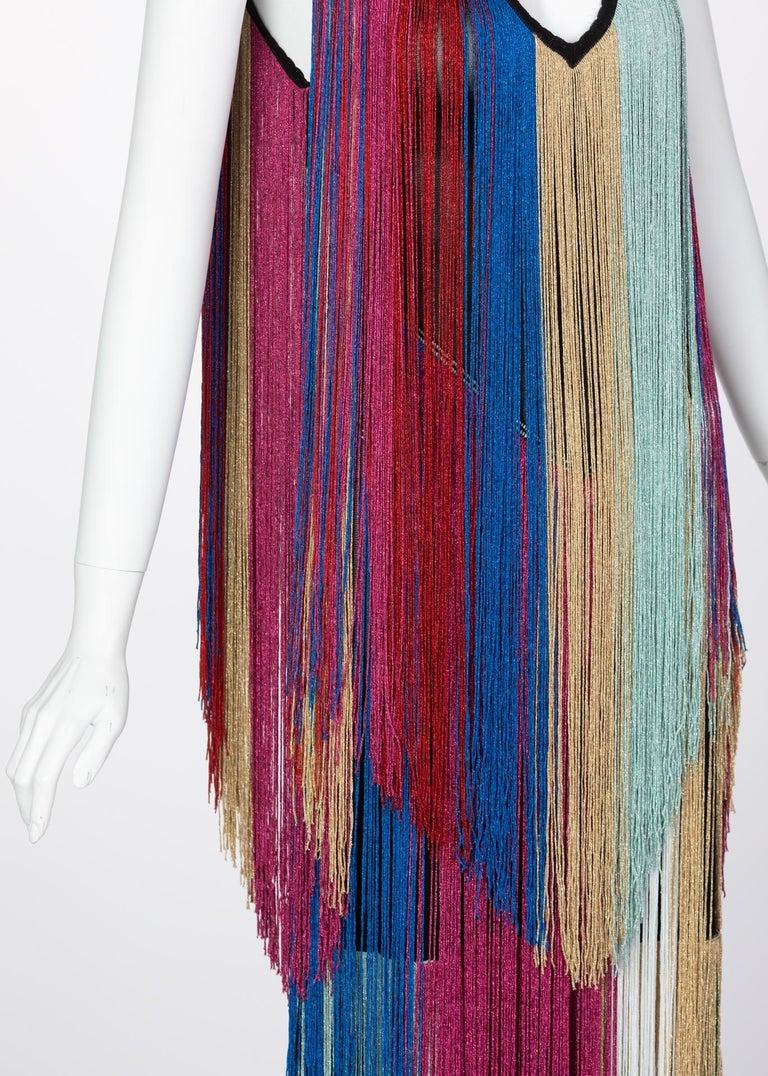 Roberto Cavalli Rainbow Fringe Maxi Dress, Resort 2017 For Sale 1