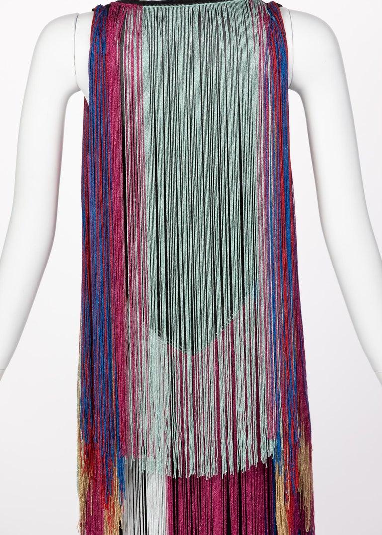 Roberto Cavalli Rainbow Fringe Maxi Dress, Resort 2017 For Sale 2