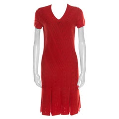 Roberto Cavalli Red Crochet Knit V Neck Godet Dress M