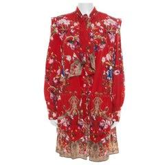Roberto Cavalli Red Floral Foil Print Silk Crepe de Chine Dress M