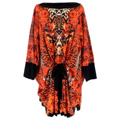 Roberto Cavalli Red Floral Printed Knit Tunic - Size US 10