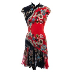 Roberto Cavalli red silk cheongsam style mini dress, ss 2003