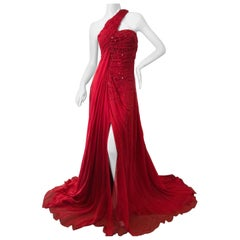 Roberto Cavalli Red Silk Chiffon Flowing Embellished Evening Gown