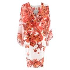 Roberto Cavalli Red & White Silk Printed Dress IT 44