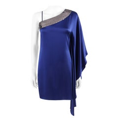 ROBERTO CAVALLI Resort 2010 Blue Silver Sequin Draped One Shoulder Mini Dress