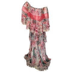 Roberto Cavalli Romantic Vintage SIlk Off the Shoulder Rich Hippie Dress