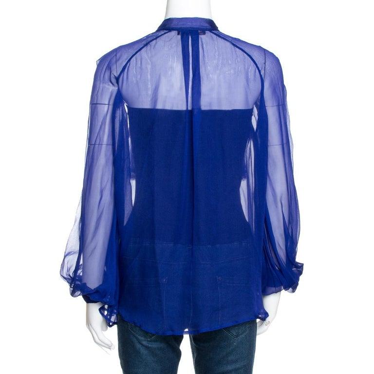 Roberto Cavalli Royal Blue Silk Chiffon Sheer Ruffled Top M In Good Condition In Dubai, Al Qouz 2