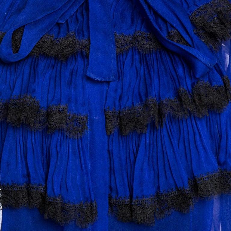 Roberto Cavalli Royal Blue Silk Chiffon Sheer Ruffled Top M 2