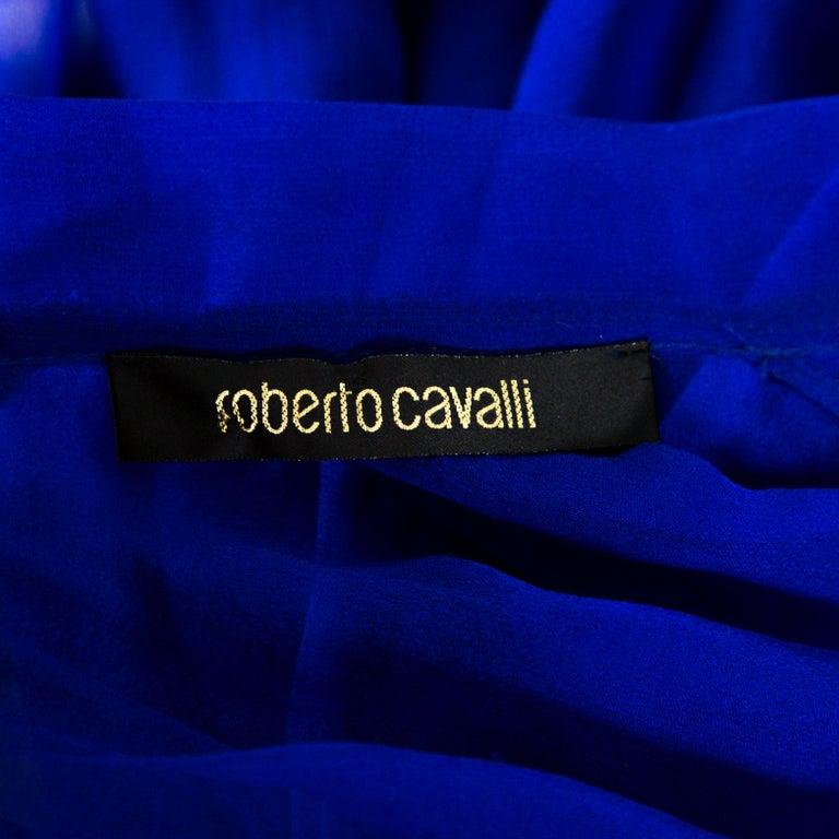 Roberto Cavalli Royal Blue Silk Chiffon Sheer Ruffled Top M 3
