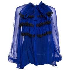 Roberto Cavalli Royal Blue Silk Chiffon Sheer Ruffled Top M