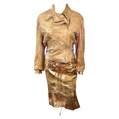 Roberto Cavalli S/S 2002 Runway Metallic Leather Jacket Coat & Skirt 2 Piece Set