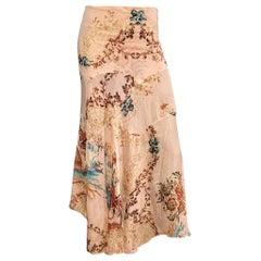 Roberto Cavalli S/S 2003 Bias Oriental Print Maxi Chiffon Skirt