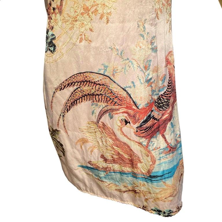 Beige Roberto Cavalli S/S 2003 Blush Pink Cheongsam Inspired Dress