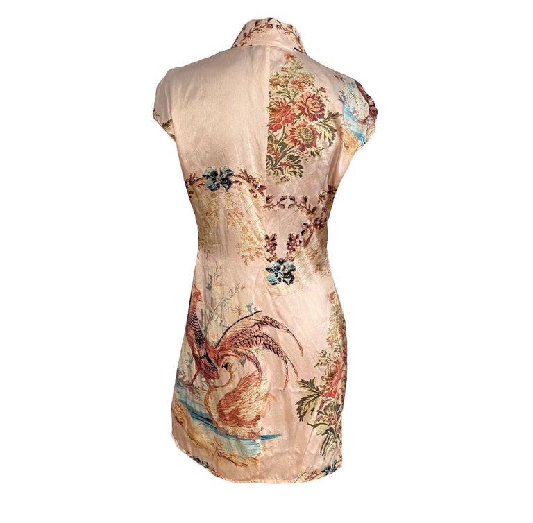 Women's Roberto Cavalli S/S 2003 Blush Pink Cheongsam Inspired Dress