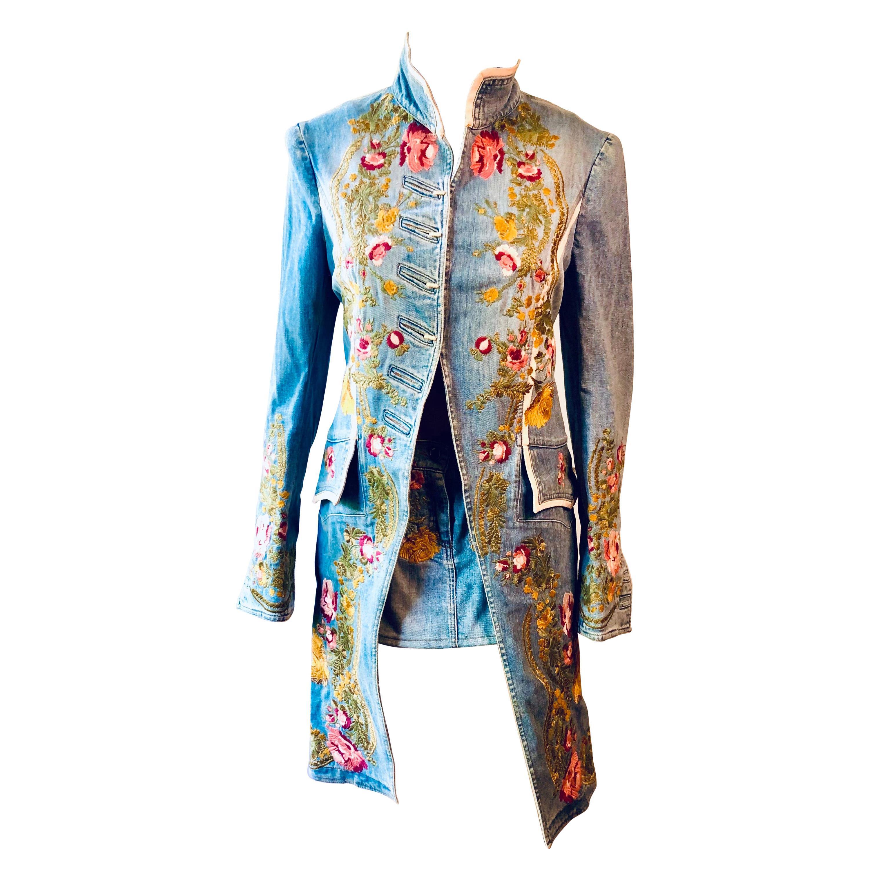 Roberto Cavalli S/S 2003 Runway Embroidered Denim Jacket Coat &Skirt 2 Piece Set