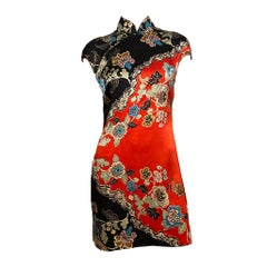 Roberto Cavalli S/S 2003 Silk Cheongsam Floral Dress
