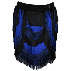 Roberto Cavalli Scalloped Electric Blue and Black Fringe Mini Skirt