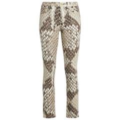 Roberto Cavalli Serpiente Gold Python Print Low Rise Skinny Jeans Size 44