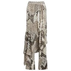 Roberto Cavalli Serpiente Python Print Draped Trousers Size 38