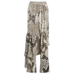 Roberto Cavalli Serpiente Python Print Draped Trousers Size 42