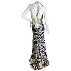 Roberto Cavalli Sexy Back Animal Print Silk Evening Dress with Train