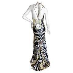 Roberto Cavalli Sexy Back Animal Print Silk Evening Dress with Train